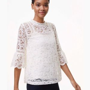 LOFT Lace Bell Sleeve Top In White